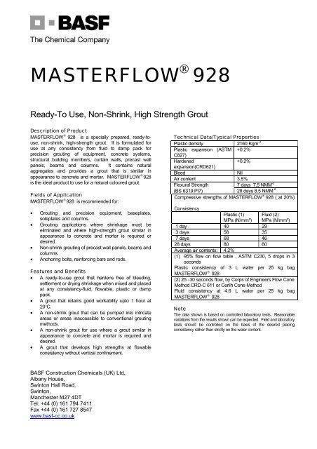 Masterflow 928 TDS - Arcon Supplies