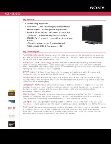 KDL-40EX500 - Quality TV Sales and Service