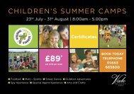 CHILDREN'S SUMMER CAMPS - Vale Resort