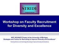 Workshop on Faculty Recruitment for Diversity and ... - advance