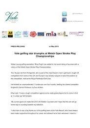 Rhys Pugh Press Release - Vale Resort