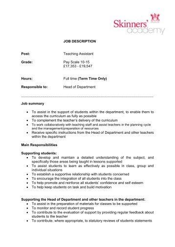 JOB DESCRIPTION Post: Teaching Assistant Grade - Skinners ...