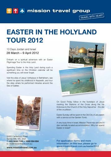 EASTER IN THE HOLYLAND TOUR 2012 - Mission Travel