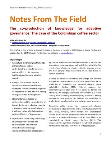 Notes From The Field - CDKN Global