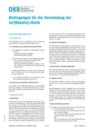 Bedingungen für die Verwendung der ec(Maestro)-Karte - DKB