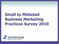 SMB Marketing Practices Survey for 2010 - Zoomerang