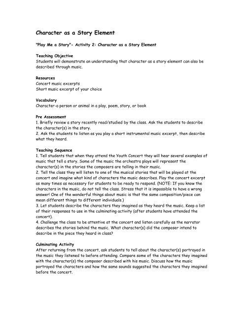 Play Me a Story- Activity 2- Character (pdf) - DSO Kids