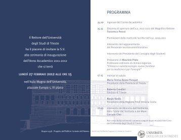 programma - Piazzale Europa News - Università degli Studi di Trieste