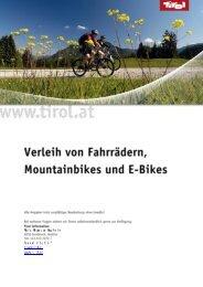 Verleih von Fahrrädern, MTB und E-Bikes - Tirol