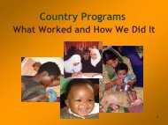 Keys to Successful IYCF Programs - Linkages Project