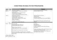 HAMSTRING REHABILITATION PROGRAMME
