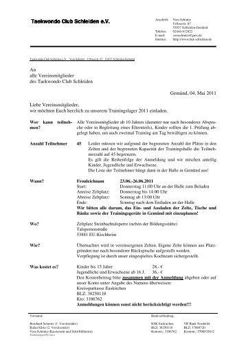 Anmeldung - Taekwondo Club Schleiden