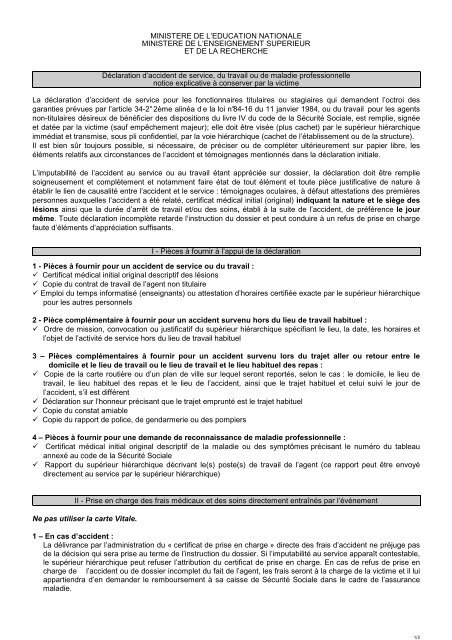 Notice D Information Accident De Travail De Service Maladie