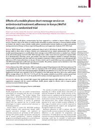 Articles Effects of a mobile phone short message service on - Pepfar