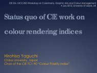 Status quo of CIE work on colour rendering indices