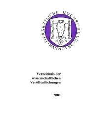 Verzeichnis der wissenschaftlichen Veröffentlichungen 2001