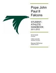 student- athlete handbook - Pope John Paul II Catholic High School