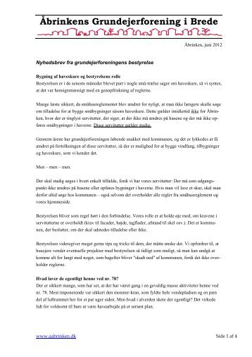 Nyhedsbrev, juni 2012 - Åbrinkens Grundejerforening i Brede