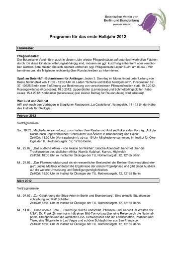 Programm für das erste Halbjahr 2012 - Botanischer Verein von ...