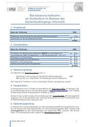 Diplom Informatik - Fakultät für Betriebswirtschaft