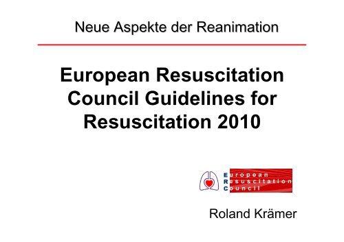 European Resuscitation Council Guidelines for Resuscitation 2010