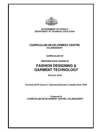 fashion designing & garment technology - Curriculum Development