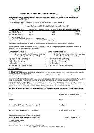 hogast Mobil Breitband Neuanmeldung - Krainz GmbH ...