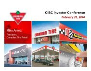 CIBC Investor Conference - Canadian Tire Corporation