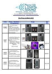 Hire Price List March 2012 Code Amps – Speakers – DJ Equipment ...