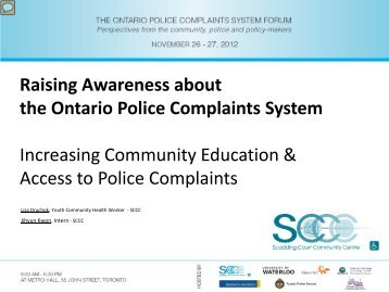 Raising Awareness about the Ontario Police Complaints System