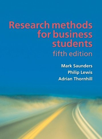 Cover & Table of Contents - Research Methods for Business Students (5th Edition)