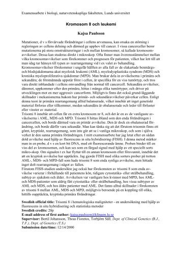 Kromosom 8 och leukemi Kajsa Paulsson - IT - Lunds universitet