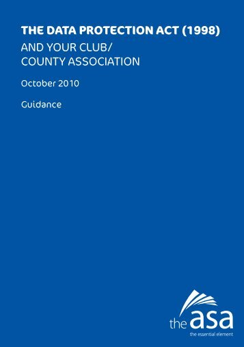 the data protection act - Sport and Recreation Alliance