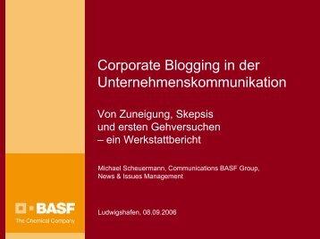 Corporate Blogging in der Unternehmenskommunikation - IMAGE eV