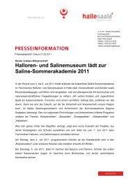 und Salinemuseum lädt zur Saline-Sommerakademie 2011