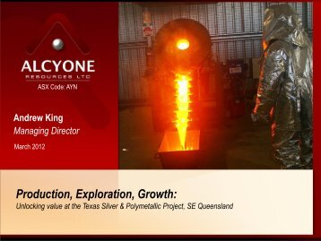 Investor Presentation - Mines and Money Conference - Alcyone ...