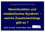 Nierenfunktion und metabolisches Syndrom - Vereinigung Zuercher ...