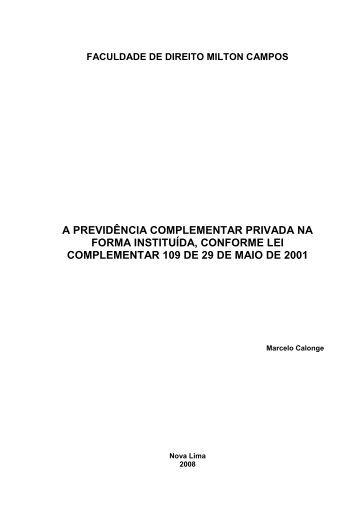a previdência complementar privada na forma ... - Milton Campos