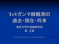 TeVガンマ線観測の 過去・現在・将来 - 東京大学宇宙線研究所