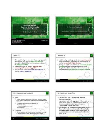 Semantic Web 2.0: Creating Social Semantic Information Spaces