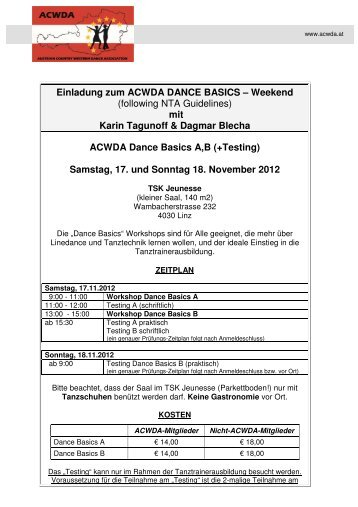 Einladung zum ACWDA DANCE BASICS – Weekend (following NTA ...