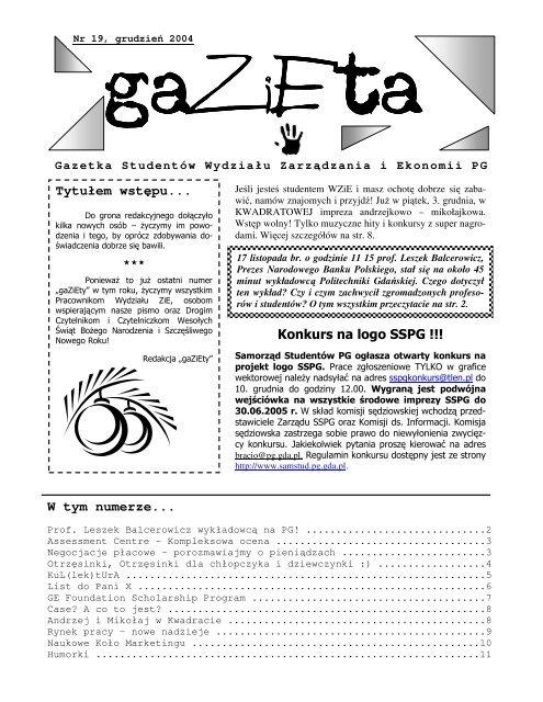Tytuåem Wstäpu W Tym Numerze Konkurs Na Logo Sspg