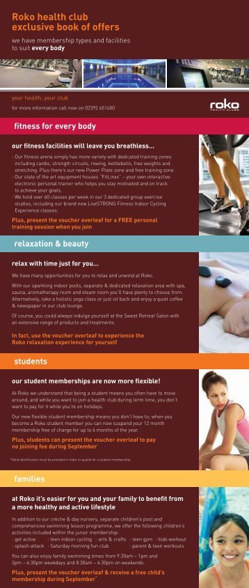Roko health club exclusive book of offers - Roko Health Clubs