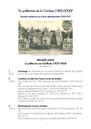 La préfecture de la Corrèze 1800-2000 - Archives départementales ...