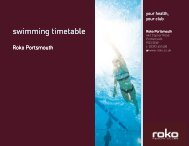 swimming timetable - Roko Health Clubs