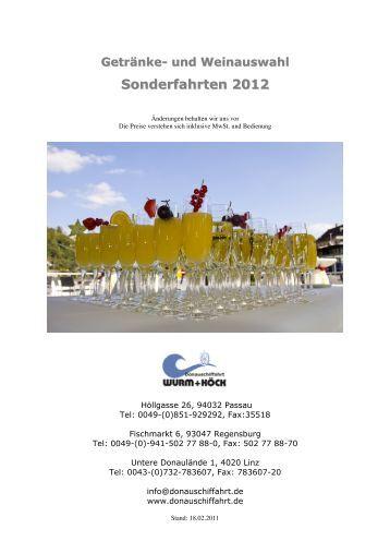 und Weinauswahl Sonderfahrten 2012
