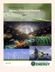 FY 2012 Agency Financial Report - U.S. Department of Energy