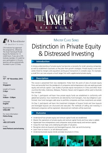 Distinction in Private Equity & Distressed Investing - The Asset