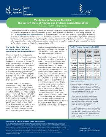 Faculty Forward Ideas in Practice Mentoring in Academic Medicine ...