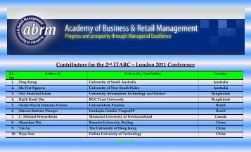 ITARC – LONDON 2010 – Subscribers - The Academy of Business ...